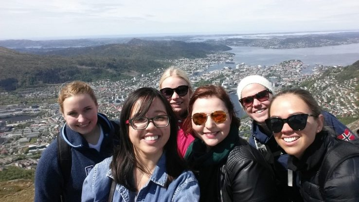 Group shot of Allie May with fellow nursing students in Norway