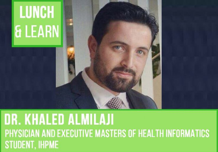 Green Banners overlay image of Dr. Khaled Almilaji for the IHPME GSU Lunch and Learn
