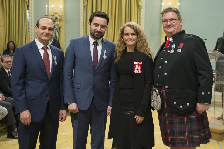 Dr. Khaled Almilaji with Dr. Jay Dahman and Mark Cameron, with Governor Julie Payette centre.