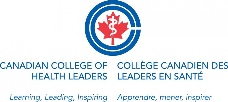 logo for the Canadian College of Health Leaders, red and blue
