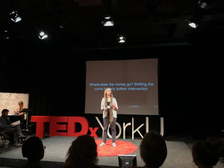 Wendy Ungar centre with red and white TedX York U signage and screen in background