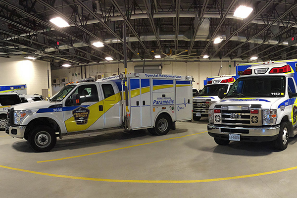 York region ambulances, parked together