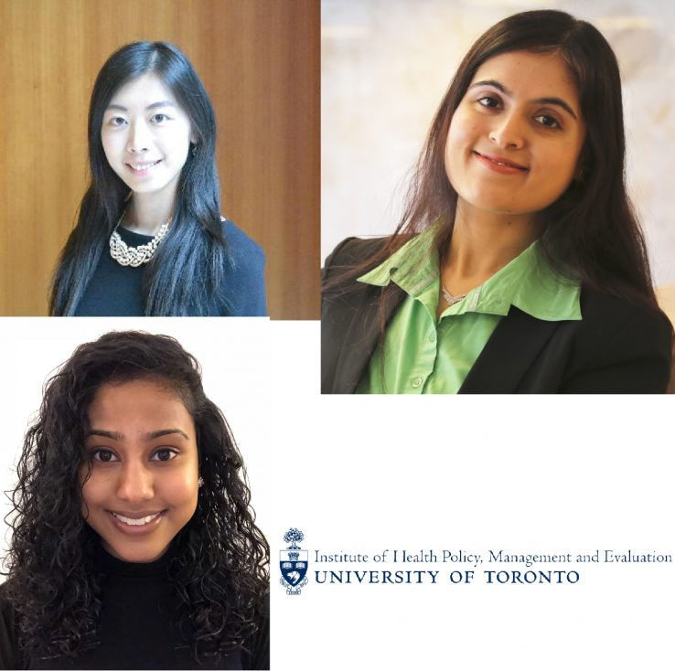 Profile of Stephanie Zhou, Vidhi Thakkar, Vinusha Gunaseelan and the IHPME logo in the bottom corner