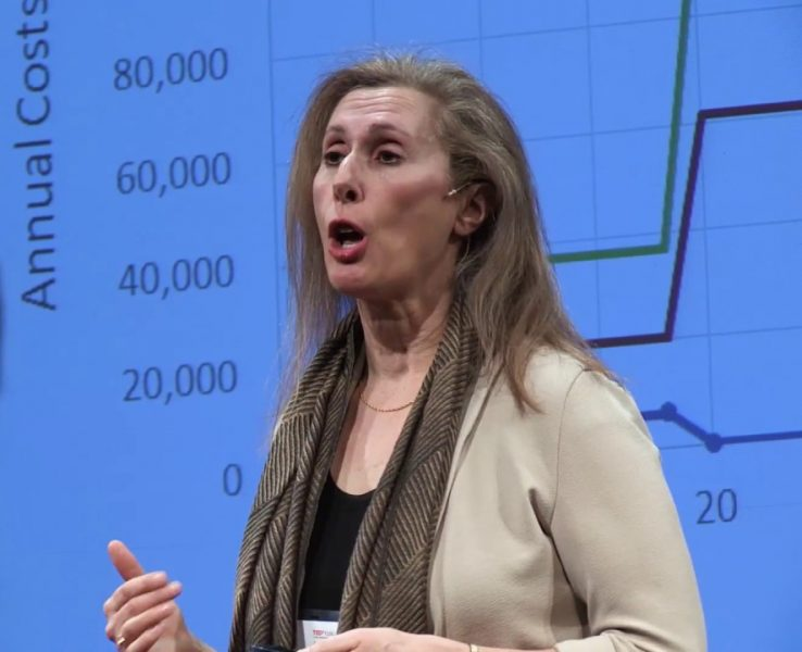 Profile of Wendy Ungar speaking with blue screen background