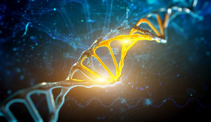 3d render illustration DNA structure in blue background.
