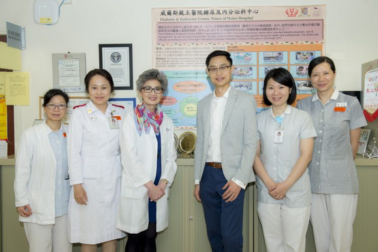 A group of nurses with Dr. Juliana Chan and PhD student Calvin Ke at The Chinese University in Hong Kong, Prince of Wales Hospital.