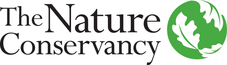 Logo for the Nature Conservancy Black Type with Green Globe on right covered in white leaves