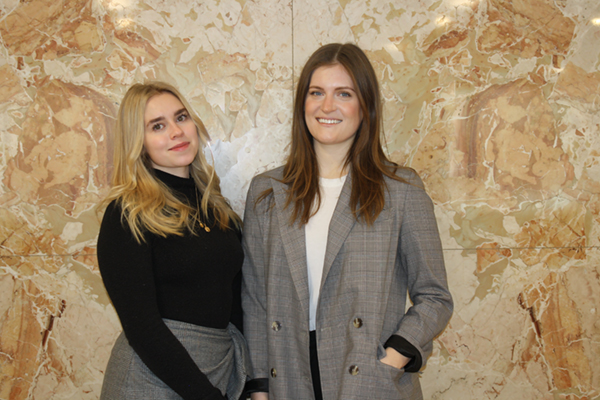 Profile of Lauren Tessier and Jill Furzer with patterned wall background