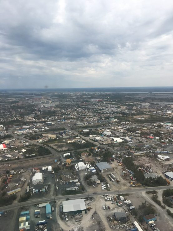 Image of Yellowknife and buildings with cloudy grey sky