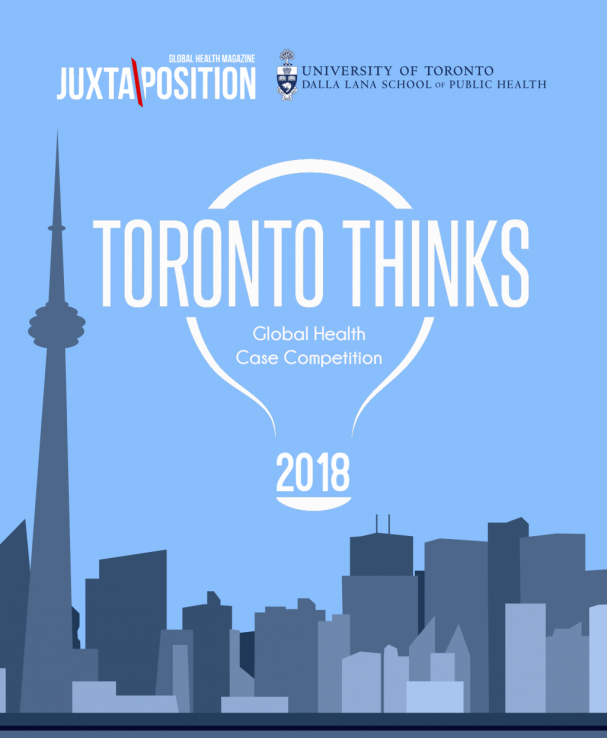Toronto skyline illustrated with blue background and illustrated light bulb containing the words, Toronto Thinks - event poster