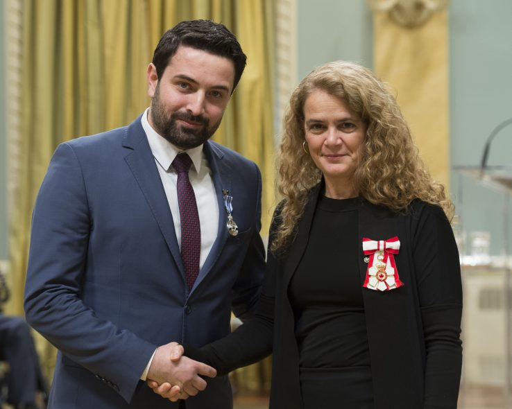 Dr. Khaled Almilaji shakes hands with Governor General Julie Payette