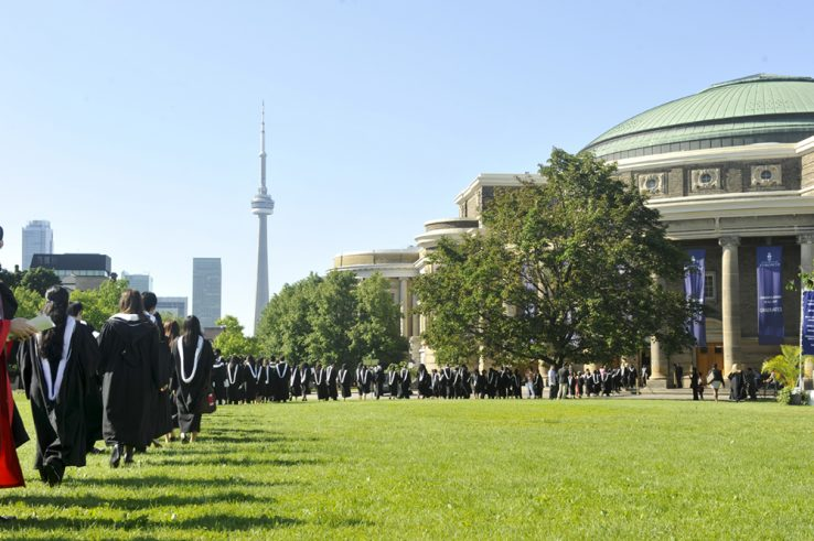University of Toronto students in the student procession as it enters Convocation Hall.
