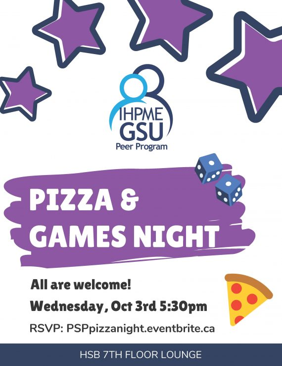 Poster for Pizza and Games Night, purple stars with IHPME GSU logo, a pair of dice and illustration of a pizza slice