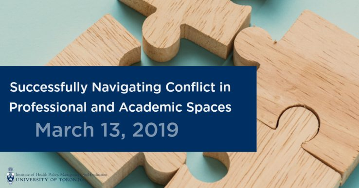 Puzzle pieces on a blue background with a banner reading Successfully Navigating Conflict in Professional and Academic Spaces, March 13, 2019