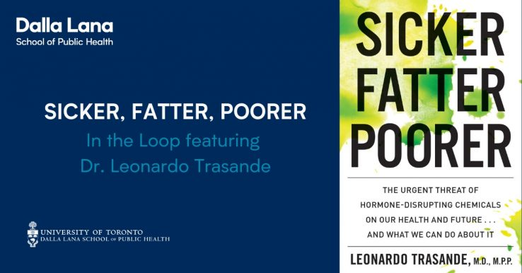 In The Loop advertising image with book cover for Sicker, Fatter, Poorer by Leonardo Trasande on right