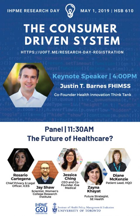 IHPME Research Day Poster featuring keynote Justin Barnes and panel of experts. White and blue.
