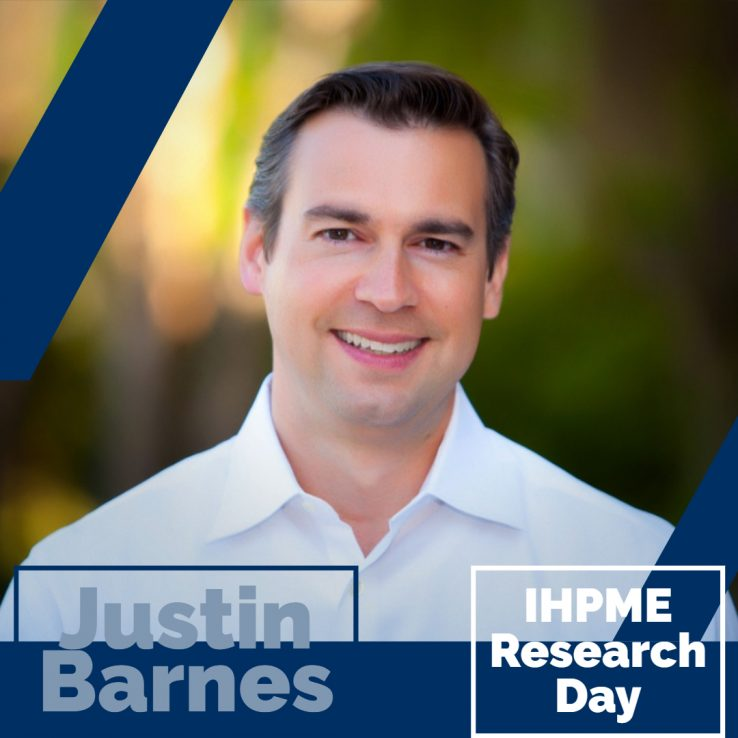 Profile of Justin Barnes with blue lines and green blurred background