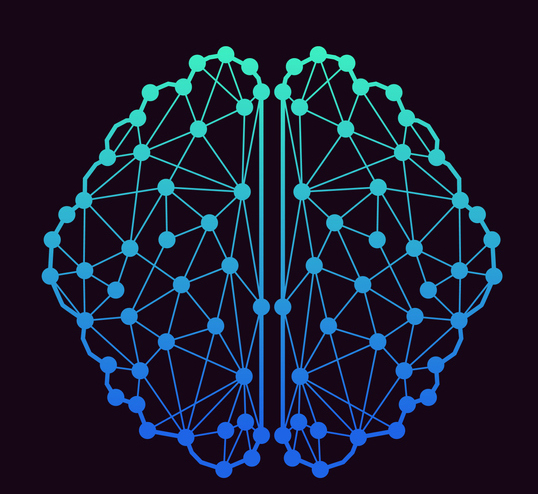 connected dots in image of brain in blue on black background