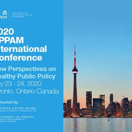 banner for APPAM 2020 with Toronto skyline and blue background