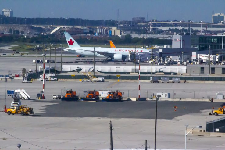 An airplane at Toronto's Pearson International airport.